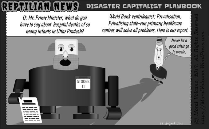 Reptilian News cartoon: Disaster capitalists