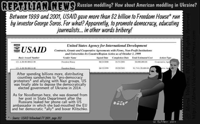 Reptilian News cartoon - How USAID gave George Soros billions to topple Ukrainian government