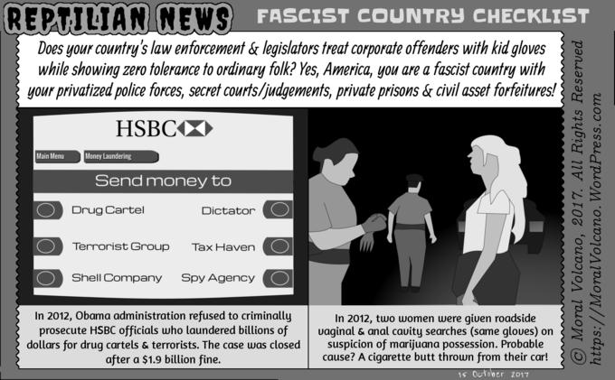 Reptilian News cartoon - Fascist country checklist