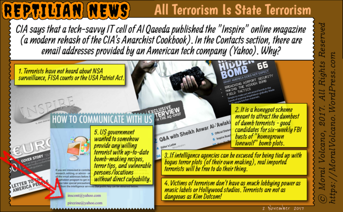 Reptilian News cartoon - Al Qaeda magazine Inspire is an updated version of the CIA Anarchist Cookbook