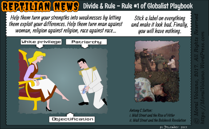Reptilian News cartoon - Divide and rule is number one trick in the globalist playbook