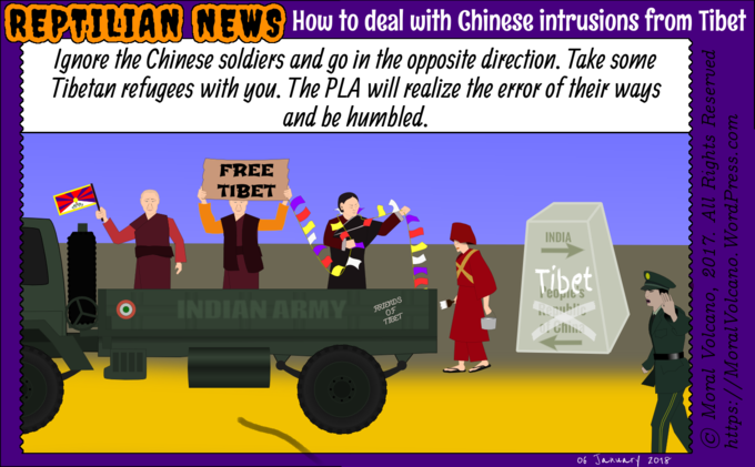 Reptilian News carton - How to stop Chinese military intrusions from Tibet