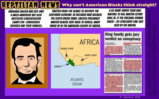 Reptilian News cartoon: Abraham Lincoln was no saviour of blacks