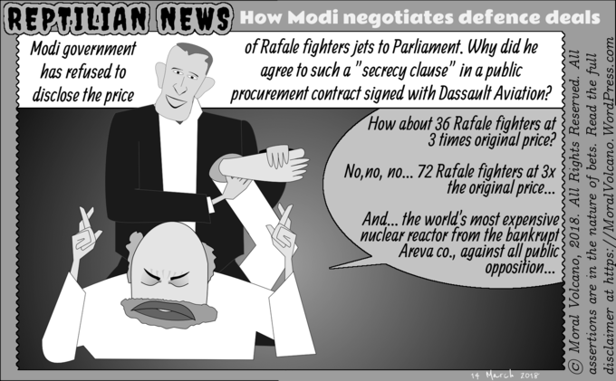 Reptilian News cartoon - How Modi negotiates defence deals