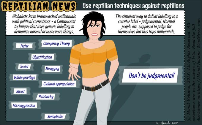 Reptilian News cartoon - How to defeat political correctness