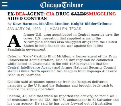 Chicago Tribunew news report about DEA agent who revealed CIA drug trafficking