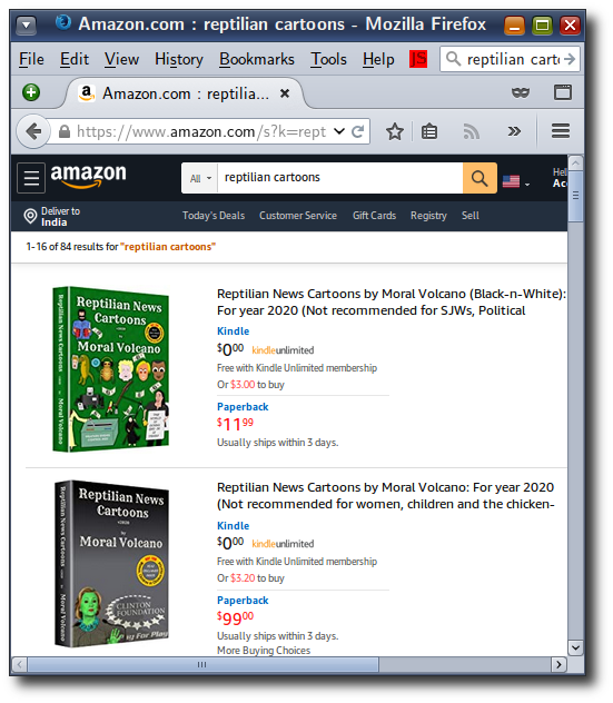 Amazon search for 'reptilian cartoons'