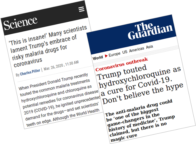 Articles condemning Trump for promoting chloroquine