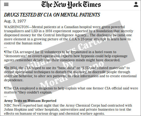 CIA experimentations on humans at major hospitals