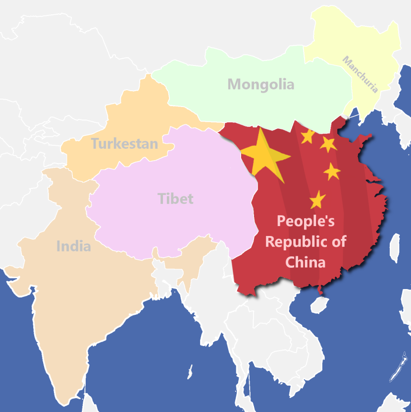 Corrected map of China and neighbouring regions it has illegally occupied.